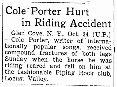 Cole Porter Hurt in Riding Accident, Omaha World Herald newspaper article 25 October 1937