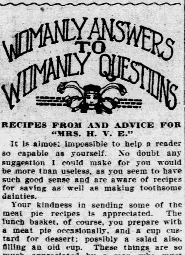 Womanly Answers to Womanly Questions, Philadelphia Inquirer newspaper article 24 September 1909