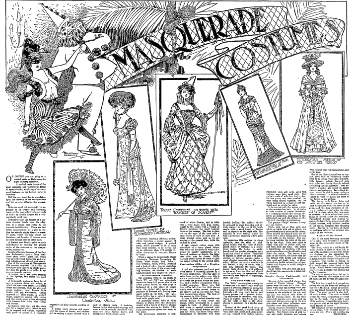 Masquerade Costumes, Philadelphia Inquirer newspaper article 18 October 1903