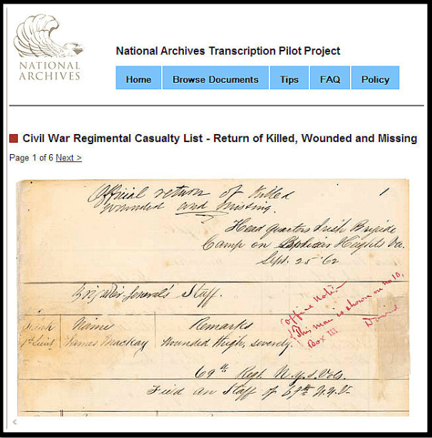 screenshot of a Civil War casualty list, an example of the documents that are part of the Transcription Pilot Project launched by the National Archives