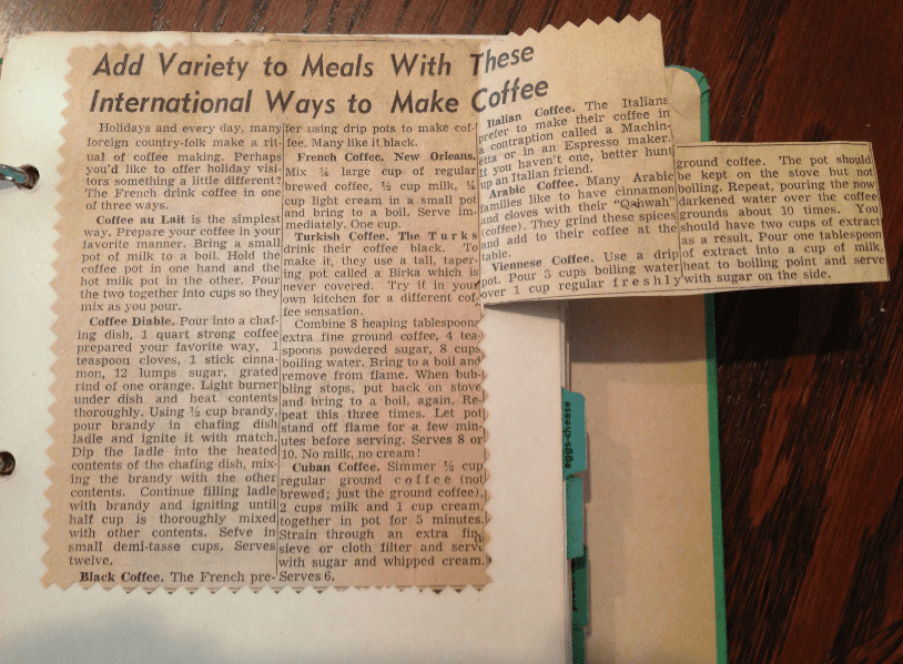 photo of an old newspaper recipe clipping pasted into a cookbook