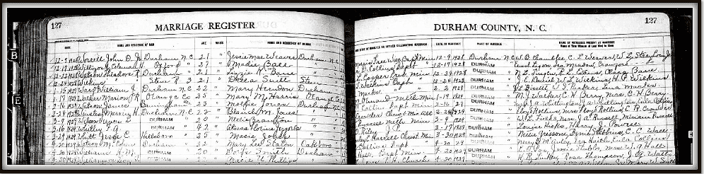photo of North Carolina marriage registers available through FamilySearch