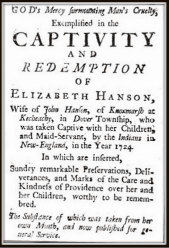 title page for Elizabeth Hanson's book about being captured by Indians in 1724