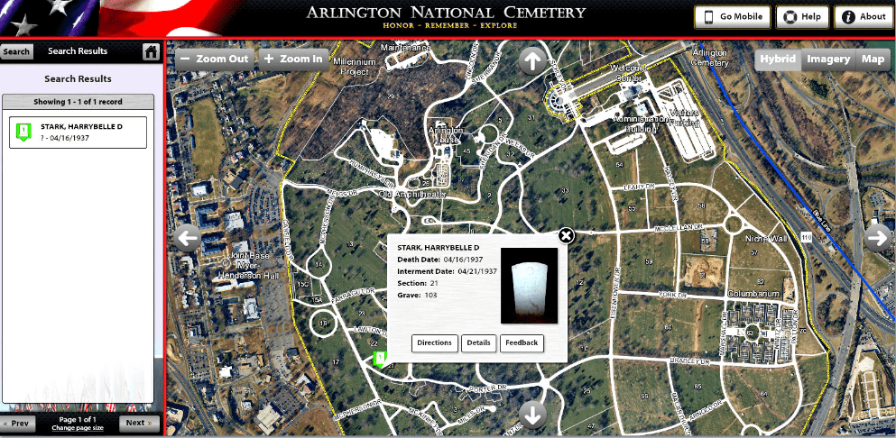 map of Arlington National Cemetery