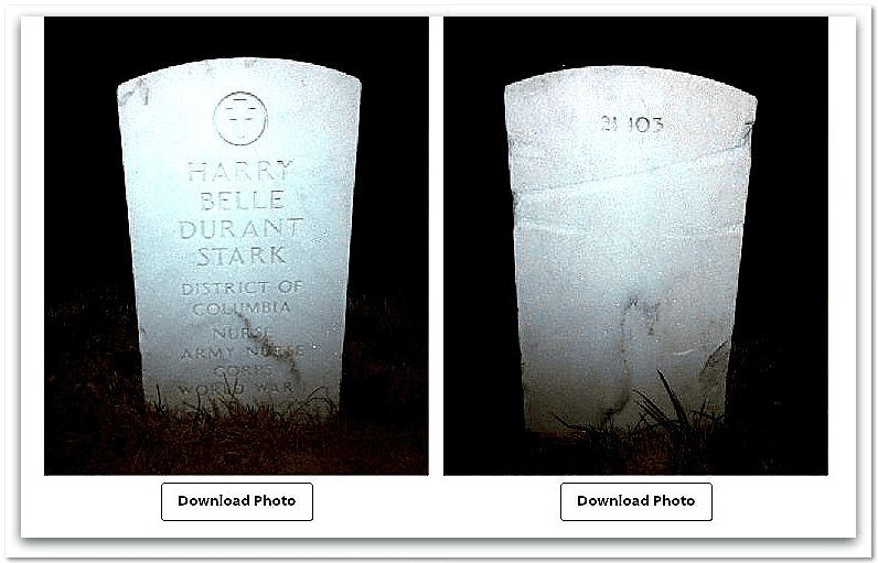 photos of the front and back of Harrybelle Stark's tombstone