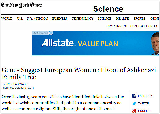 Genes Suggest European Women at Root of Ashkenazi Family Tree, New York Times newspaper article 8 October 2013