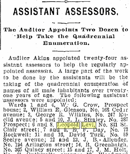 Assistant Assessors, Plain Dealer newspaper article 16 April 1899
