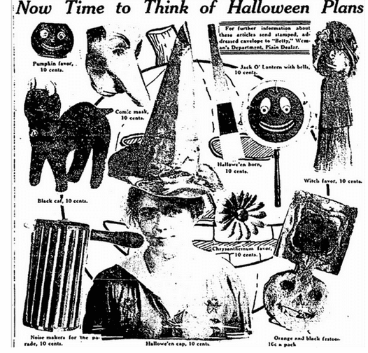 illustration of Halloween costumes and decorations, Plain Dealer newspaper article 15 October 1916