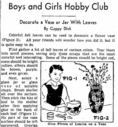 Decorate a Vase or Jar with Leaves, Plain Dealer newspaper article 15 October 1954