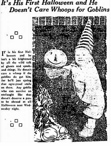 photo of a child wearing a Halloween costume, Plain Dealer newspaper article 25 October 1917