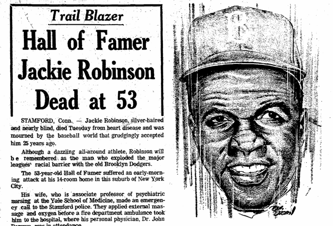 Hall of Famer Jackie Robinson Dead at 53, Plain Dealer newspaper obituary 25 October 1972