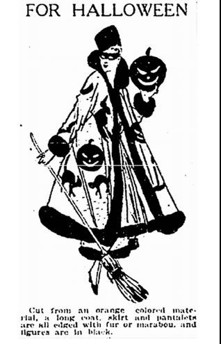 illustration of a woman wearing a Halloween costume, Plain Dealer newspaper article 26 October 1915