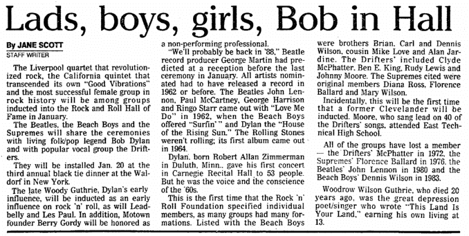Lads, Boys, Girls, Bob [Dylan] in Hall, Plain Dealer newspaper article 28 October 1987