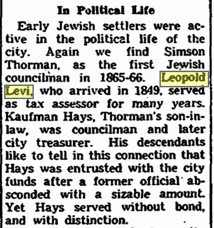 notice about Leopold Levi, Plain Dealer newspaper article 10 December 1951
