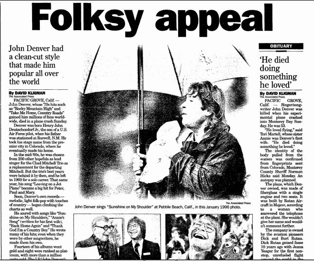 profile and obituary for John Denver, Register Star newspaper articles, 14 October 1997