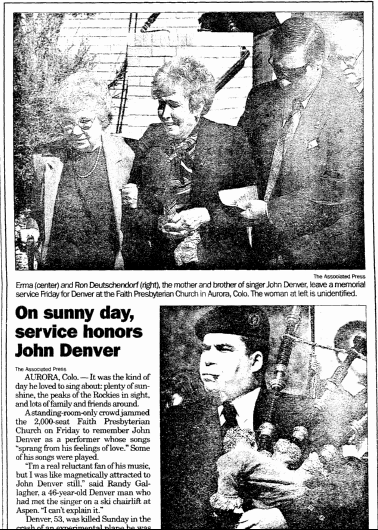 On Sunny Day, Service Honors John Denver, Register Star newspaper article 18 October 1997