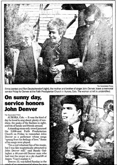 On Sunny Day, Service Honors John Denver, Register Star newspaper article 18 October 1997