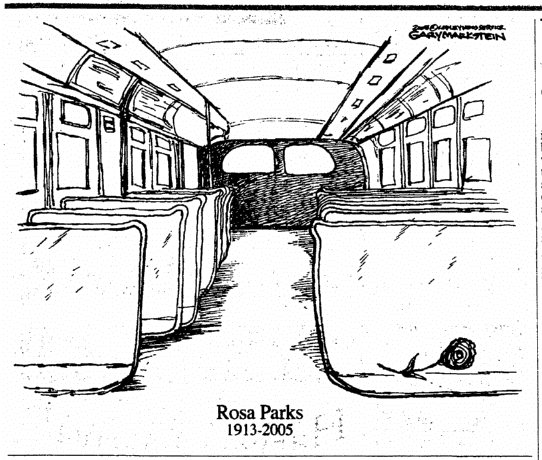 editorial cartoon paying respects to Rosa Parks, Register Star newspaper illustration 26 October 2005