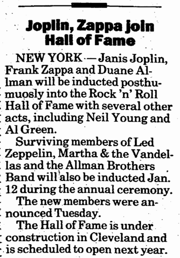 [Janis] Joplin, [Frank] Zappa Join Hall of Fame, Register Star newspaper article 17 November 1994