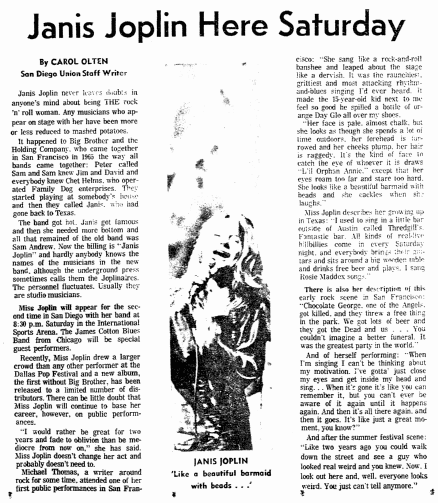 Janis Joplin Here Saturday, San Diego Union newspaper article 28 September 1969