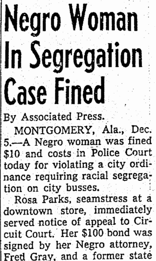 Negro Woman [Rosa Parks] in Segregation Case Fined, Seattle Daily Times newspaper article 5 December 1955