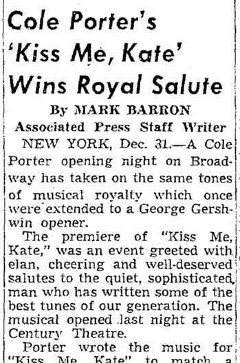 Cole Porter's 'Kiss Me, Kate' Wins Royal Salute, Seattle Daily Times newspaper article 31 December 1948