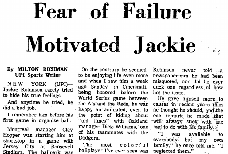 Fear of Failure Motivated Jackie [Robinson], Springfield Union newspaper article 25 October 1972