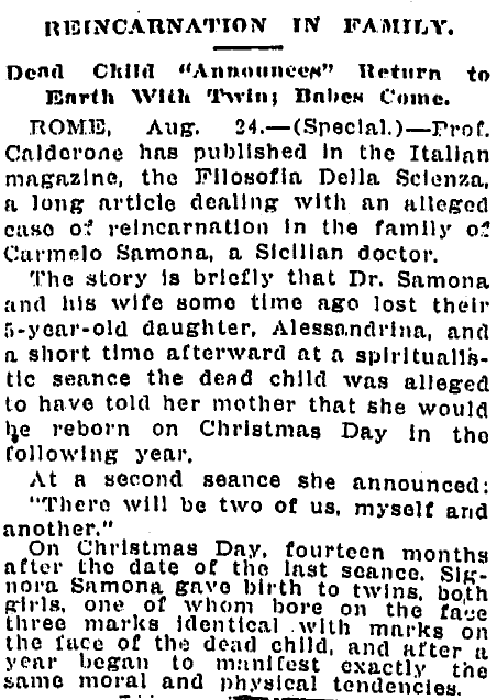 Reincarnation in [Samona] Family, Times-Picayune newspaper article 25 August 1913