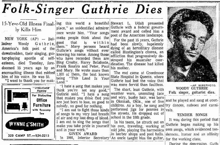 Folk-Singer [Woody] Guthrie Dies, Times-Picayune newspaper obituary, 4 October 1967