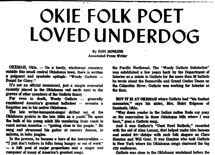 Okie Folk Poet [Woody Guthrie] Loved Underdog, Trenton Evening Times newspaper article 27 June 1971