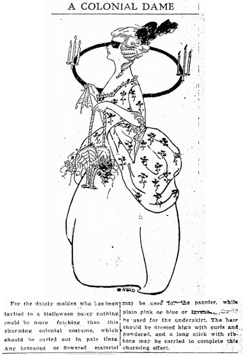illustration of a woman wearing a Halloween costume, Trenton Evening Times newspaper article 26 October 1913