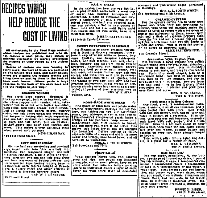 Recipes Which Help Reduce the Cost of Living, Tucson Daily Citizen newspaper article 2 March 1917
