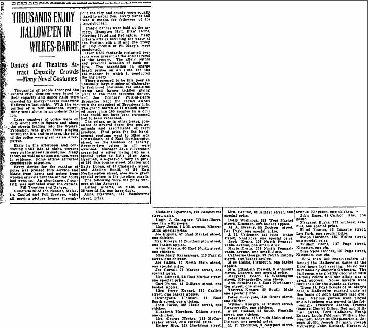 Thousands Enjoy Hallowe'en in Wilkes-Barre, Wilkes-Barre Times-Leader newspaper article 1 November 1922