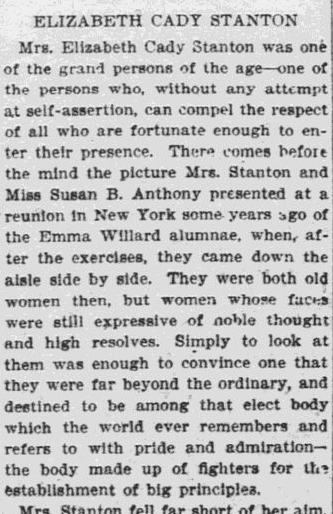 Elizabeth Cady Stanton, Worcester Daily Spy newspaper article 28 October 1902
