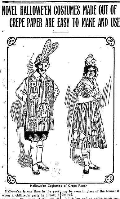 Novel Hallowe'en Costumes Made Out of Crepe Paper Are Easy to Make and Use, Wyoming State Tribune newspaper article 9 October 1917