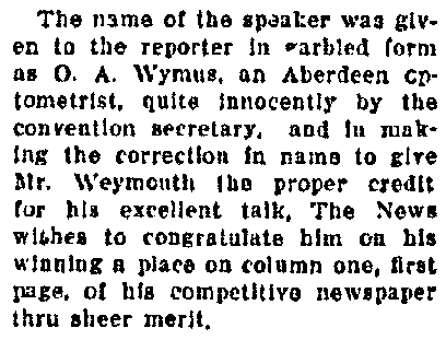 notice about Mr. Weymouth, Aberdeen Daily News newspaper article 28 April 1921