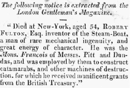 obituary for Robert Fulton, American Beacon newspaper article 7 November 1815