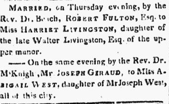 marriage announcement for Robert Fulton and Harriet Livingston, American Citizen newspaper article 9 January 1808