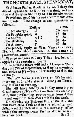 ad for travel fares on the North River Steamboat, American Citizen newspaper advertisement 5 September 1807