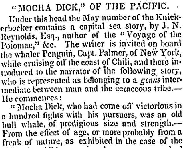 """Mocha Dick,"" of the Pacific, Auburn Journal and Advertiser newspaper article 12 June 1839"