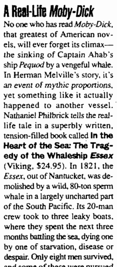 "book review of Nathaniel Philbric's book ""In the Heart of the Sea: The Tragedy of the Whaleship Essex,"" Augusta Chronicle newspaper article 4 June 2000"