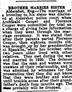 Brother Marries Sister, Augusta Chronicle newspaper article 8 August 1926