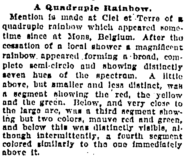 A Quadruple Rainbow, Baltimore American newspaper article 25 December 1905