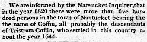 article about the Coffin family in Nantucket, Baltimore Patriot newspaper article 21 July 1826