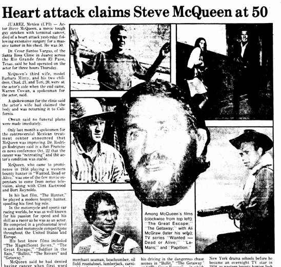 Heart Attack Claims Steve McQueen at 50, Boston Herald newspaper article 8 November 1980