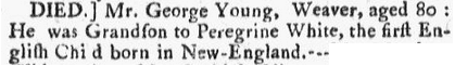 death notice for George Young, Boston Post-Boy newspaper article 13 May 1771