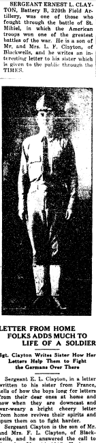 Letter from Home Folks Adds Much to Life of a Soldier [Ernest Clayton], Cobb County Times newspaper article 24 October 1918