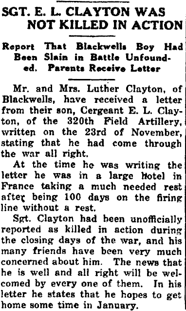 Sgt. E. L. Clayton Was Not Killed in Action, Cobb County Times newspaper article 19 December 1918