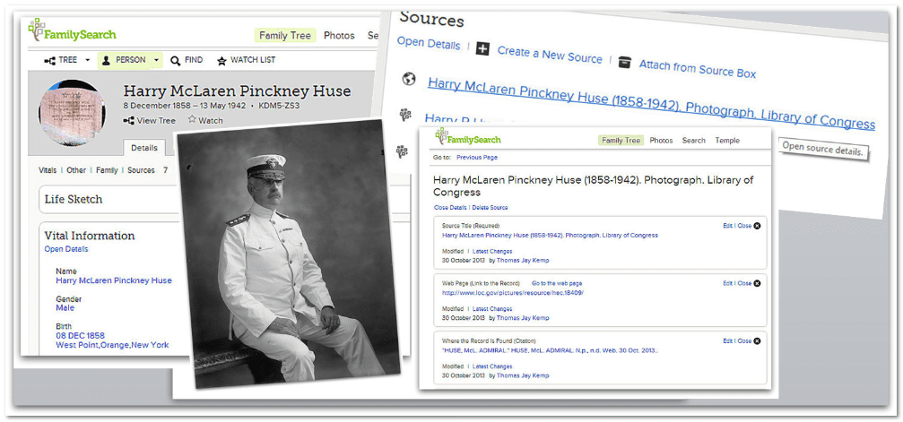 collage of screenshots from RecordSeek and FamilySearch for Admiral Harry Pinckney Huse