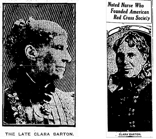 pictures of Clara Barton, from the Trenton Evening Times 13 April 1912 & the Fort Worth Star-Telegram 12 April 1912